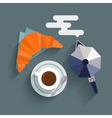Flat cup of coffee croissant and coffee maker vector image
