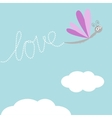 Flying dragonfly insect Dash word Love in the sky vector image