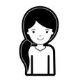 half body woman with pigtail hairstyle in black vector image vector image