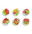 healthy dishes set top view grilled sausages vector image vector image
