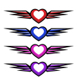 hearts with wings vector image vector image