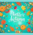 hello autumn lettering surrounded autumn leaves vector image
