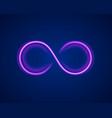 infinity neon symbol on purple background vector image vector image