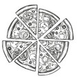 italian pizza pizza design template hand drawn vector image vector image