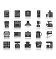 kitchen appliance black silhouette icon set vector image vector image