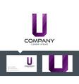 letter u - logo design vector image vector image