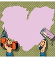 Love heart background paint wall repair vector image vector image
