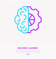 machine learning icon half brain and half wheel vector image vector image