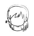 manga anime girl chibi character contour vector image vector image