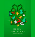 merry christmas paper cut decoration gift card vector image
