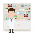 Modern flat of a male pharmacist showing medicine vector image vector image