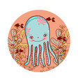 nice octopus animal with seaweed plants vector image vector image