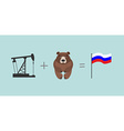 Oil rig and bear Symbols Russia Flag Of Russia vector image vector image