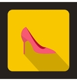 Pink high heels icon flat style vector image vector image