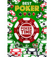 poker cards chip stakes casino game vector image vector image
