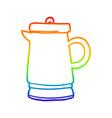 rainbow gradient line drawing old metal kettle vector image vector image