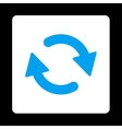 Refresh flat blue and white colors rounded button vector image