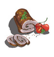 sausage smoked sausage vector image vector image