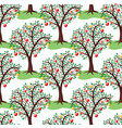 seamless repeating pattern with apple trees with vector image