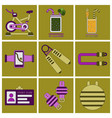set of icons in flat design gym equipment vector image vector image