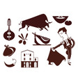 set spain icons flat modern style isolated vector image
