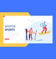 ski resort winter holidays landing page template vector image vector image