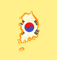 south korea - map colored with korean flag vector image vector image