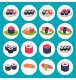 Sushi circular icon set over blue vector image vector image