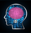 technology digital cyber security brain lock head vector image vector image