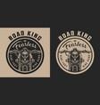 vintage motorbike round emblem vector image vector image