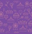 violet carnival scenes seamless pattern vector image