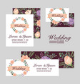 wedding set cards flowers romantic design vector image vector image