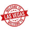 welcome to Las Vegas red round ribbon stamp vector image vector image