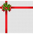 xmas red ribbon bow transparent background vector image vector image