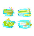 discounts spring sale labels tulip flowers promo vector image