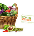 healthy vegetables in basket vector image