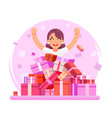 8 march women holiday happy cute girl shopping vector image vector image