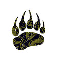 a trace a bear black silhouette of paw vector image vector image