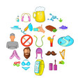 active life icons set cartoon style vector image vector image