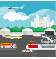 airport flat details and elements vector image vector image
