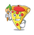 artist pizza slice character cartoon vector image vector image