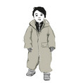 baby in grey romper fashion child sketch clothes vector image
