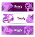 Banners with woman silhouette and triangle pattern vector image