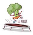 broccoli fat killer sport vegetable cartoon vector image vector image