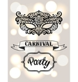 Carnival invitation card with black lace mask vector image vector image