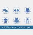 clothes icon set deep blue vector image
