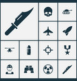 combat icons set collection of glass slug vector image vector image