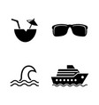 cruise sea travel simple related icons vector image
