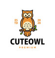 cute owl cartoon logo icon vector image
