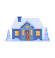 cute snowy blue house suburban winter cottage vector image vector image